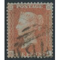 GREAT BRITAIN - 1855 1d red-brown QV, plate 1, check letters BJ, used – SG # 24 (C3)
