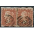 GREAT BRITAIN - 1855 1d red-brown QV, plate 1, pair FI+FJ, used – SG # 24 (C3)