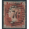 GREAT BRITAIN - 1855 1d red-brown QV, plate 4, check letters CF, used – SG # 21 (C4)