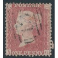 GREAT BRITAIN - 1861 1d red QV, plate 50, check letters AG, used – SG # 42