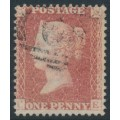 GREAT BRITAIN - 1861 1d red QV, plate 50, check letters CE, used – SG # 42