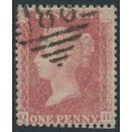 GREAT BRITAIN - 1861 1d red QV, plate 50, check letters QB, used – SG # 42