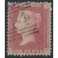 GREAT BRITAIN - 1861 1d red QV, plate 50, check letters RH, used – SG # 42