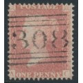GREAT BRITAIN - 1861 1d red QV, plate 51, check letters AC, used – SG # 42