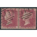 GREAT BRITAIN - 1857 1d red QV, plate 52, pair, check letters KG+KH, used – SG # 38