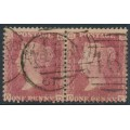 GREAT BRITAIN - 1857 1d red QV, plate 55, pair, check letters OD+OE, used – SG # 38