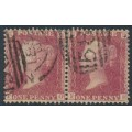 GREAT BRITAIN - 1857 1d red QV, plate 55, pair, check letters PG+PH, used – SG # 38