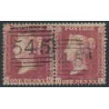 GREAT BRITAIN - 1857 1d red QV, plate 56, pair, check letters GK+GL, used – SG # 38