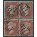 GREAT BRITAIN - 1854 1d red-brown QV, plate R4, block of 4, used – SG # 17