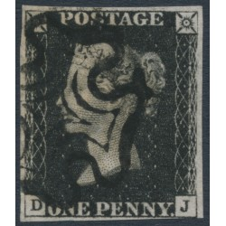 GREAT BRITAIN - 1840 1d intense black QV (penny black), plate 5, check letters DJ, used – SG # 1 (AS24)