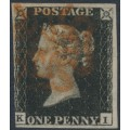 GREAT BRITAIN - 1840 1d black QV (penny black), plate 5, check letters KI, used – SG # 2 (AS25)