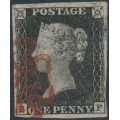 GREAT BRITAIN - 1840 1d greyish black QV (penny black), plate 7, check letters BF, used – SG # 3 (AS47g)