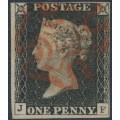 GREAT BRITAIN - 1840 1d greyish black QV (penny black), plate 3, check letters BF, used – SG # 3 (AS21)