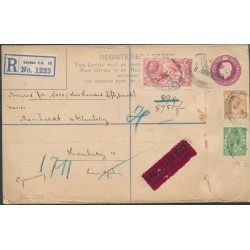 GREAT BRITAIN - 1923 5/- red Sea Horses on a registered cover to Hamburg – SG # 351 + 382 + 416