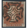GREAT BRITAIN - 1841 1d red-brown QV, plate 21, check letters KB, used – SG # 8l (BS10ba)