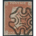 GREAT BRITAIN - 1841 1d red-brown QV, plate 22, check letters HJ, used – SG # 8l (BS11d)
