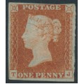 GREAT BRITAIN - 1842 1d red-brown QV, plate 24, check letters TJ, MNG – SG # 8l