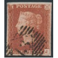 GREAT BRITAIN - 1845 1d red-brown QV, plate 64, check letters LJ, used – SG # 8