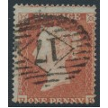 GREAT BRITAIN - 1854 1d red-brown QV, plate 201, check letters RF, used – SG # 17 (C1)