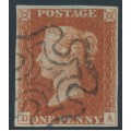 GREAT BRITAIN - 1841 1d red-brown QV, plate 12, check letters DA, used – SG # 8l
