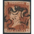 GREAT BRITAIN - 1841 1d red-brown QV, plate 15, check letters HE, used – SG # 8l