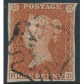 GREAT BRITAIN - 1842 1d red-brown QV, plate 29, check letters HD, used – SG # 8l