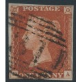 GREAT BRITAIN - 1845 1d red-brown QV, plate 49, check letters DA, used – SG # 8
