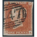 GREAT BRITAIN - 1845 1d red-brown QV, plate 64, check letters DA, used – SG # 8
