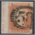 GREAT BRITAIN - 1846 1d red-brown QV, plate 70, check letters GA, used – SG # 8