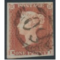 GREAT BRITAIN - 1848 1d red-brown QV, plate 81, check letters KI, used – SG # 8