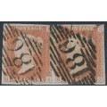 GREAT BRITAIN - 1850 1d red-brown QV, plate 95, HI+HJ pair, used – SG # 8