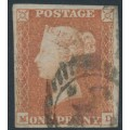 GREAT BRITAIN - 1849 1d red-brown QV, plate 96, watermark inverted, MD, used – SG # 8Wi