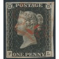 GREAT BRITAIN - 1840 1d greyish black QV (penny black), plate 3, check letters FL, used – SG # 3 (AS21)