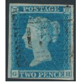 GREAT BRITAIN - 1849 2d blue Queen Victoria, imperforate, plate 4, check letters GH, used – SG # 14