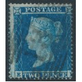 GREAT BRITAIN - 1854 2d blue Queen Victoria, perf. 16, plate 4, check letters EK, used – SG # 20a