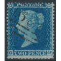 GREAT BRITAIN - 1855 2d blue QV, perf. 14, plate 4, small crown, check letters GD, used – SG # 23a