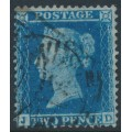 GREAT BRITAIN - 1855 2d blue Queen Victoria, perf. 14, plate 5, check letters JD, used – SG # 34