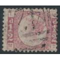 GREAT BRITAIN - 1870 ½d rose Queen Victoria 'Bantam', plate 19, used – SG # 49