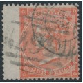 GREAT BRITAIN - 1862 4d pale red QV, Large Garter watermark, plate 4, used – SG # 82