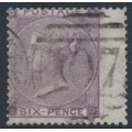 GREAT BRITAIN - 1862 6d lilac Queen Victoria, Emblems watermark, plate 3, used – SG # 84