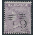 GREAT BRITAIN - 1864 6d lilac Queen Victoria, Emblems watermark, plate 4, used – SG # 85