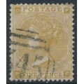 GREAT BRITAIN - 1862 9d straw Queen Victoria, Emblems watermark, plate 2, used – SG # 87