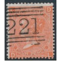 GREAT BRITAIN - 1865 4d deep vermilion QV, inverted Garter watermark, plate 11, used – SG # 95Wi
