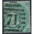 GREAT BRITAIN - 1865 1/- green Queen Victoria, Emblems watermark, plate 4, used – SG # 101