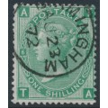 GREAT BRITAIN - 1871 1/- green QV, Spray of Rose watermark, plate 6, used – SG # 117
