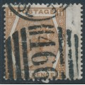 GREAT BRITAIN - 1872 6d deep chestnut QV, Spray of Rose watermark, plate 11, used – SG # 122