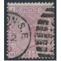 GREAT BRITAIN - 1877 2½d rosy mauve QV, inverted Orb watermark, plate 7, used – SG # 141Wi