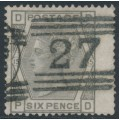 GREAT BRITAIN - 1876 6d grey QV, Spray of Rose watermark, plate 15, used – SG # 147