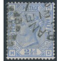 GREAT BRITAIN - 1881 2½d blue QV, Imperial Crown watermark, plate 22, used – SG # 157