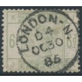 GREAT BRITAIN - 1883 6d dull green Queen Victoria, crown watermark, used – SG # 194